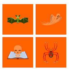 assembly flat bat ghost book skull spider vector image