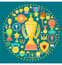 Awards and Trophy Icons with Cup Medal Prize vector image