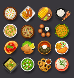 dishes icon set-4 vector image