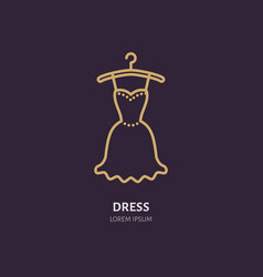 evening dress on hanger icon clothing shop line vector image