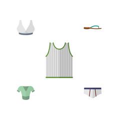 Flat icon garment set of singlet beach sandal vector