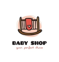 funny doodle style baby bed logo Sketchy vector image