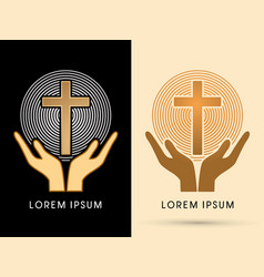 hands holding cross with light vector image