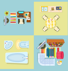 interior decor set of four vector image
