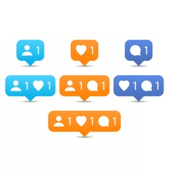 Like follow comment icons in flat style vector