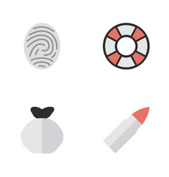 set of simple criminal icons elements moneybox vector image vector image