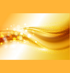 smooth light gold waves lines and lens flares vector image vector image