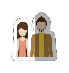 sticker color silhouette half body with woman in vector image