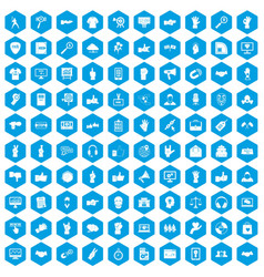 100 different gestures icons set blue vector