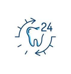24 hour dental care tooth icon stomatology thin vector