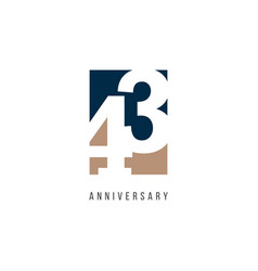 43 years anniversary celebration logo template vector