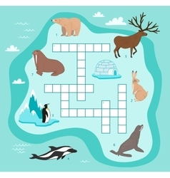 Animals crossword education game for children vector