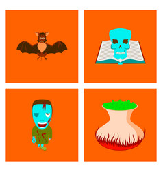 assembly flat spider bat book skull zombie men vector image
