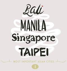 Bali Manila Taipei vector