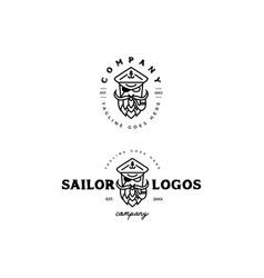 bearded sailor face logo vector image