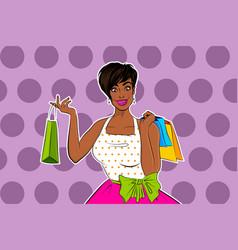 Beautiful black african pop art girl shopping vector