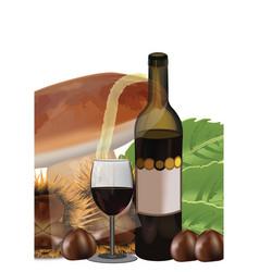 Bottle black wine with chestnut and mushroom gl vector