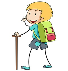 Boy with backpack going hiking vector image
