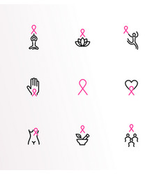 Breast cancer care pink ribbon outline icon set vector