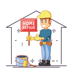 builder character with home repair icons vector image