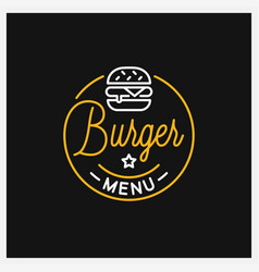 burger shop logo round linear logo menu vector image