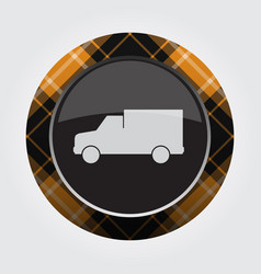 Button with orange black tartan - van car icon vector