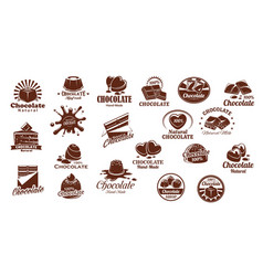 Chocolate sweets icons set vector