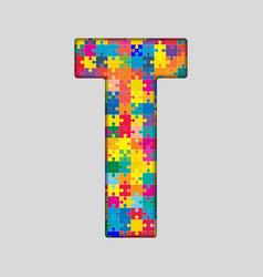 Color Puzzle Piece Jigsaw Letter - T vector