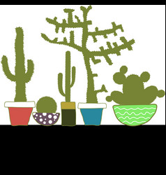 Colorful set with cactus in pot vector