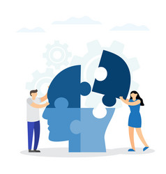 Concept intellect people connecting jigsaw vector