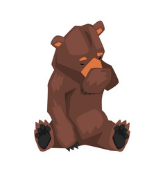 Cute brown grizzly bear sitting and covering vector