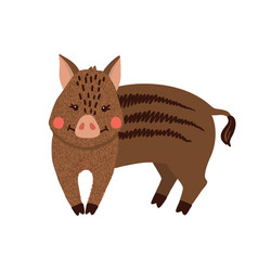 cute hand drawn wild boar isolated on white vector image