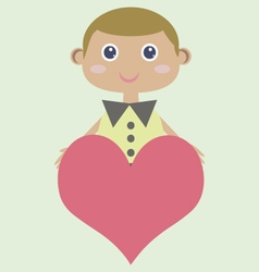 Cute smiling boy holding heart vector