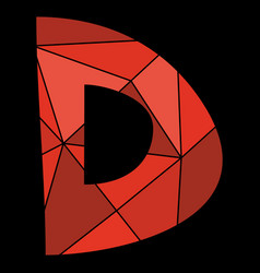 D red alphabet letter isolated on black background vector