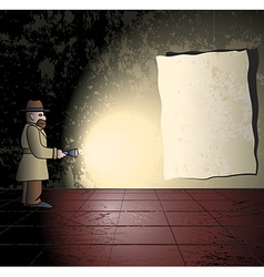 Detective in the grungy room vector image