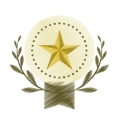 Drawing emblem star win leaves olive blank vector