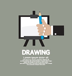 Drawing On Easel With Pencil vector image vector image
