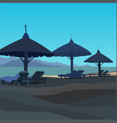 drawn beach with sunbeds and umbrellas in blue vector image
