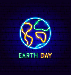 earth day neon label vector image
