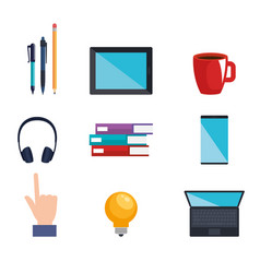 Electronic learning technology icons vector