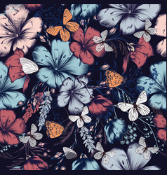 fashion pattern with flowers and butterflies vector image