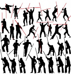 Fighting with sticks vector
