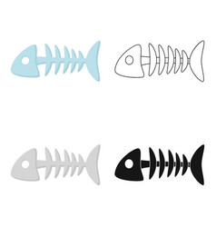 Fish bone icon in cartoon style isolated on white vector