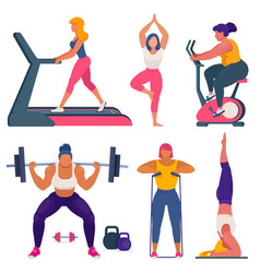 fitness women different sizes doing sports vector image