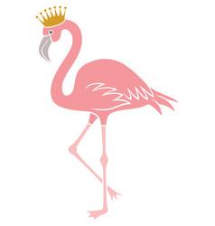 flamingo bird with crown vector image