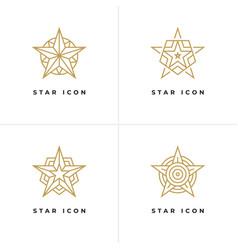 four star shape logo templates vector image