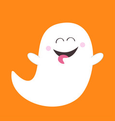 Ghost spirit showing tongue boo happy halloween vector