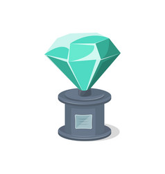 Glassy award trophy of diamond shape vector