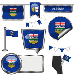 Glossy icons with flag of province alberta vector