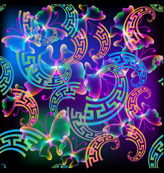 glowing colorful butterflies seamless pattern vector image
